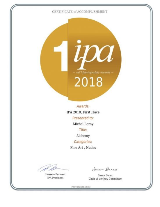 Alchemy series won the International Photography Awards (IPA) 2018, First Place award for a professional series